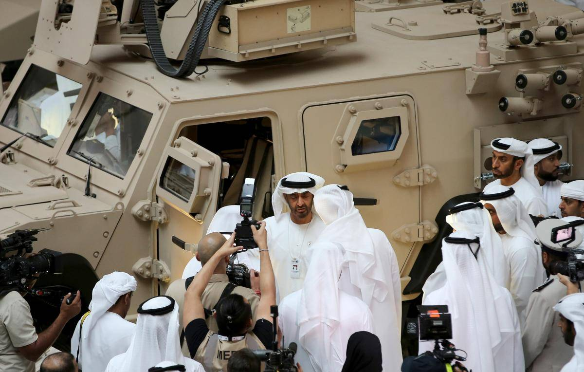 Sheikh Mohammed bin Zayed al-Nahyan, Abu Dhabi's crown prince and deputy supreme commander of the UAE armed forces, attends the opening of the International Defence Exhibition and Conference at the Abu Dhabi National Exhibition Centre on 17 February 2019. Photo: Getty Images.