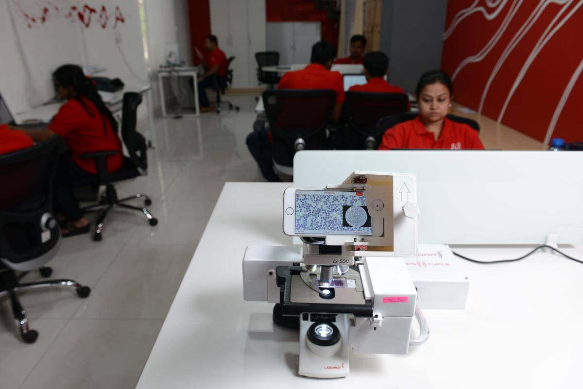 Inside view of SigTuple office in Bengaluru, on 3 May 2017. The company is helping hospitals and healthcare centres to improve the speed and accuracy of blood reports. Photo by Mint/Getty Images.