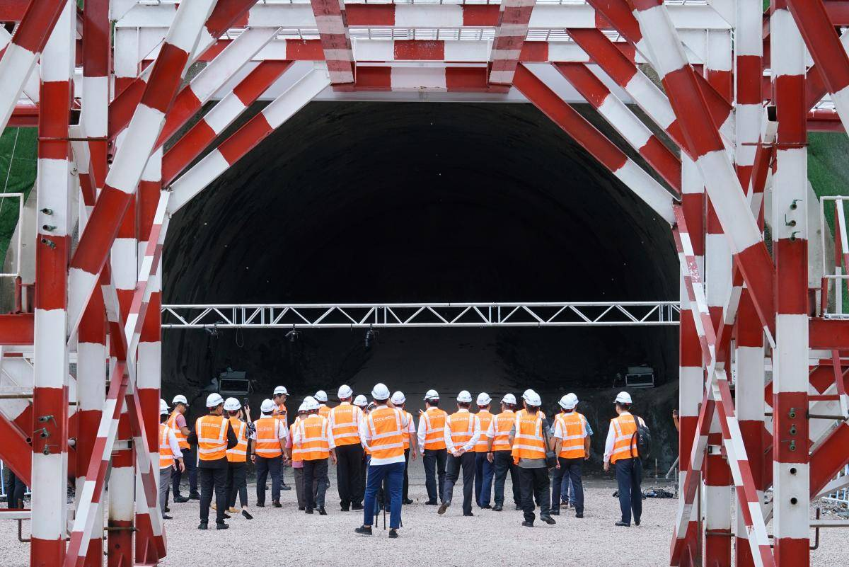 Officials visit the tunnel of the East Coast Rail Link project in Dungun, Malaysia