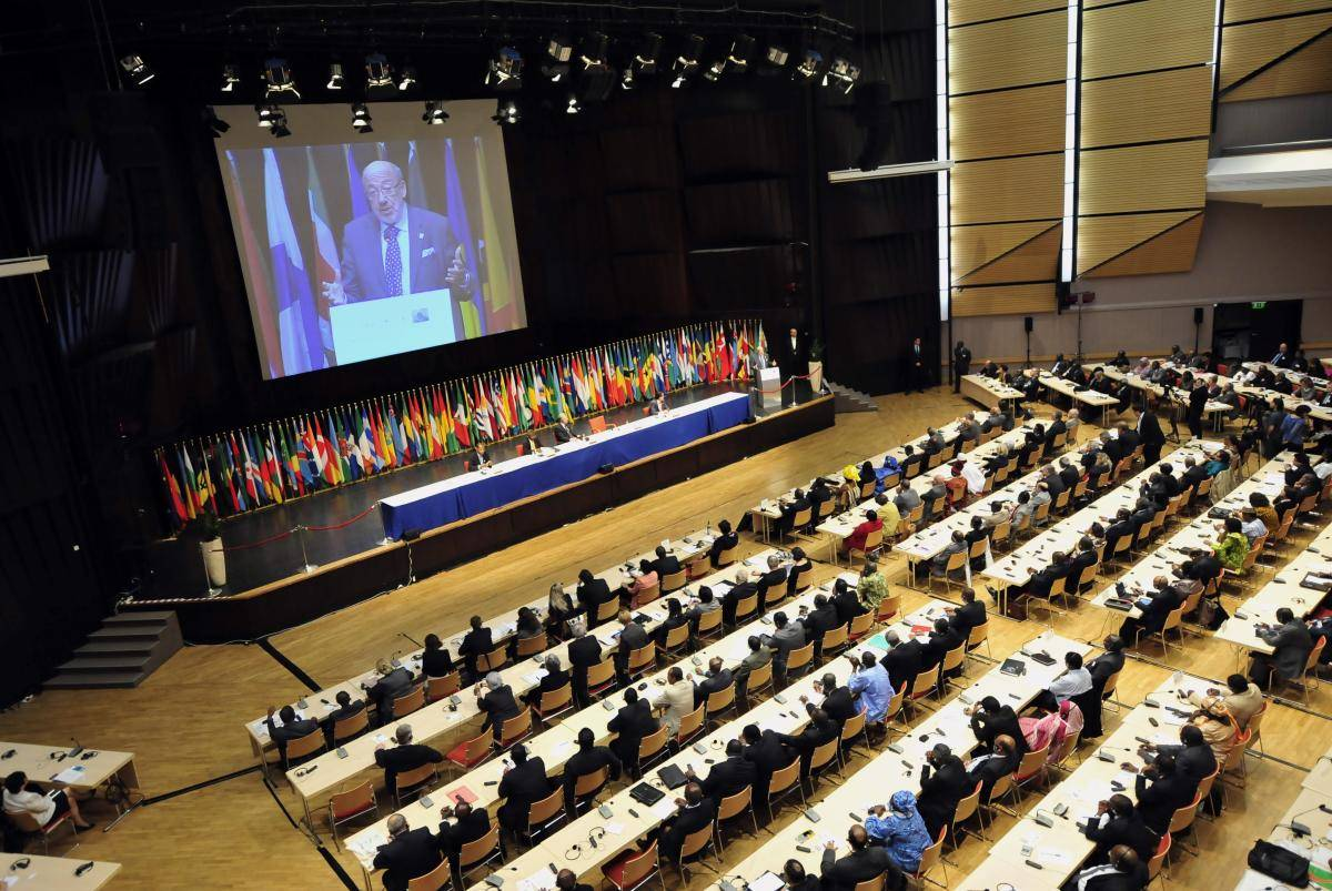 The main hall of the Budapest Congress and Trade Center on 16 May 2011, as parliamentarians from the Africa, Caribbean and Pacific (ACP) group of nations kicked off wide-ranging talks with their European Union counterparts.