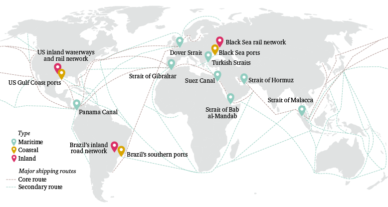Figure 1: Maritime, coastal and inland chokepoints and major shipping routes