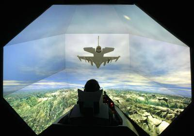 F-16 SimuSphere HD flight simulator at Link Simulation in Arlington, Texas, US. Photo: Getty Images.