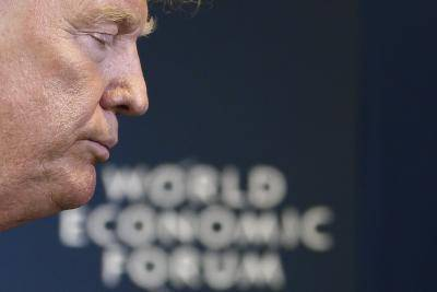 US president Donald Trump at the World Economic Forum in Davos, Switzerland, on January 22, 2020. Photo by JIM WATSON/AFP via Getty Images.